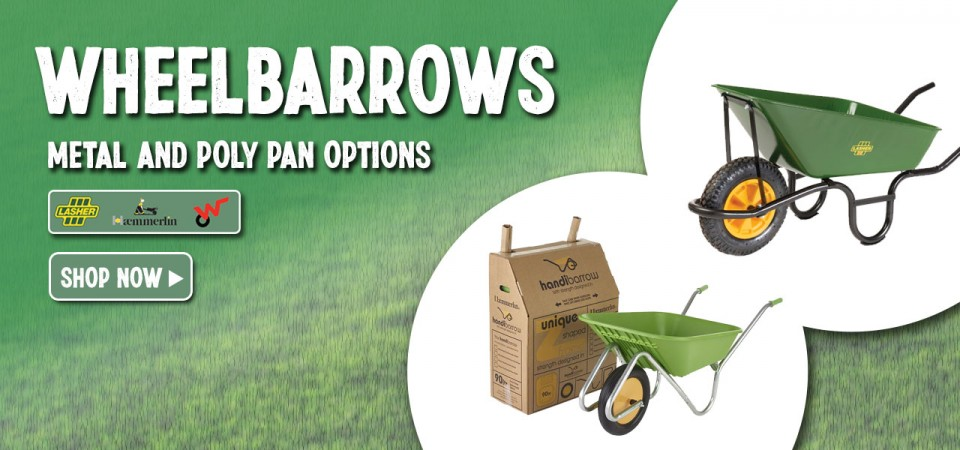 Wheelbarrrows Metal and Poly Pans Shop Now