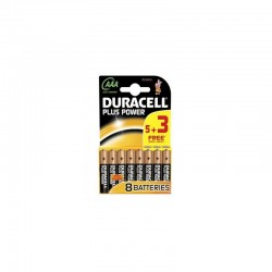 Duracell Plus Power AAA Batteries (Pack 5 + 3 Free)