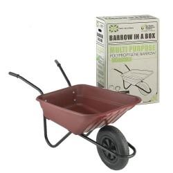 90L Burgundy Barrow-in-a-Box Multi-Purpose Polypropylene Wheelbarrow