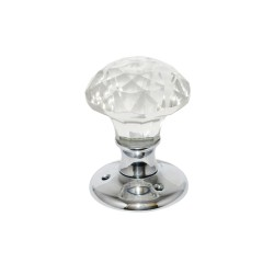 Chrome Plated Solitaire Glass Mortice Door Knob Handles Set