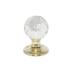 Polished Brass Glass Ball Mortice Door Knob Handles Set