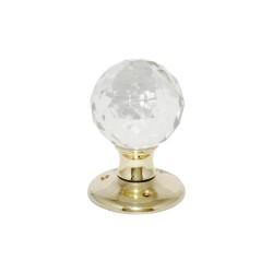 Polished Brass Glass Ball Mortice Door Knob Handles Set