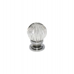 32mm Chrome Plated Pumpkin Glass Cupboard Door Knob