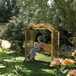 Dartmouth Swing Seat Arbour - Natural Timber - 2330 x 2235 x 1090mm