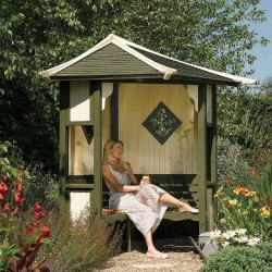 Haven Corner Arbour - Natural Timber - 2500 x 1730 x 1730mm