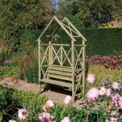 Rustic Garden Arch with Seat