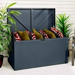 Metal Deck Box - Anthracite Grey - 665 x 1320 x 690mm