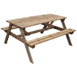 5ft Picnic Bench - Natural Timber - 700 x 1500 x 1500mm