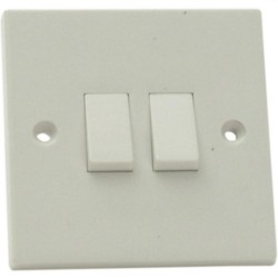 2 Gang 2 Way White Light Switch SMJ W22LSC