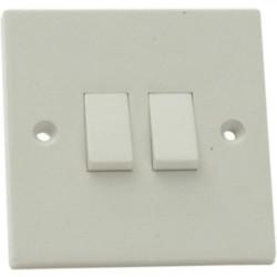 2 Gang 2 Way White Light Switch SMJ W22LSC