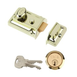 No.85 Yale Polished Brass Brslux Body Visi-Pack Cylinder Nightlatch