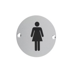 75mm Satin Stainless Steel Female WC Sign