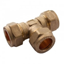 Oracstar 22mm Compression Equal Tee - Brass For Plumbing