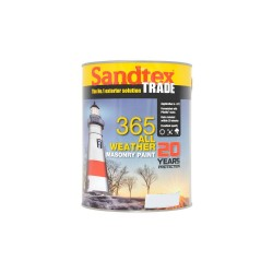 Sandtex 365 All Weather Masonry Paint - Brilliant White - 5L