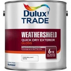 Dulux Trade Weathershield Exterior Quick Dry Gloss Paint - Pure Brilliant White - 2.5L