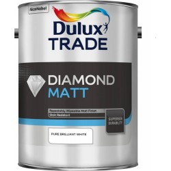 Dulux Trade 10L Diamond Matt - Pure Brilliant White Finish