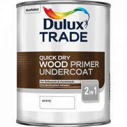Dulux Trade 1L Quick Dry Wood Primer Undercoat - White Finish