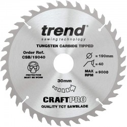 Trend Craft Saw Blade - 190mm x 40T x 30mm