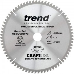 Trend Craft Saw Blade CC - 260mm x 72T x 30mm