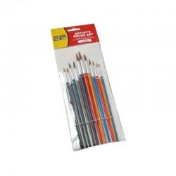FFJ 12 Piece Set of Artist Paint Brushes with Colour Handles