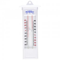 Faithfull Wall Mounted Thermometer With Press Button - Mercury Free